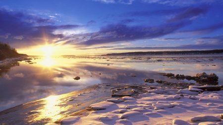 sun, river, dawn