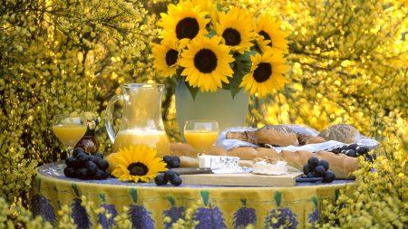 sunflowers, bouquet, vase