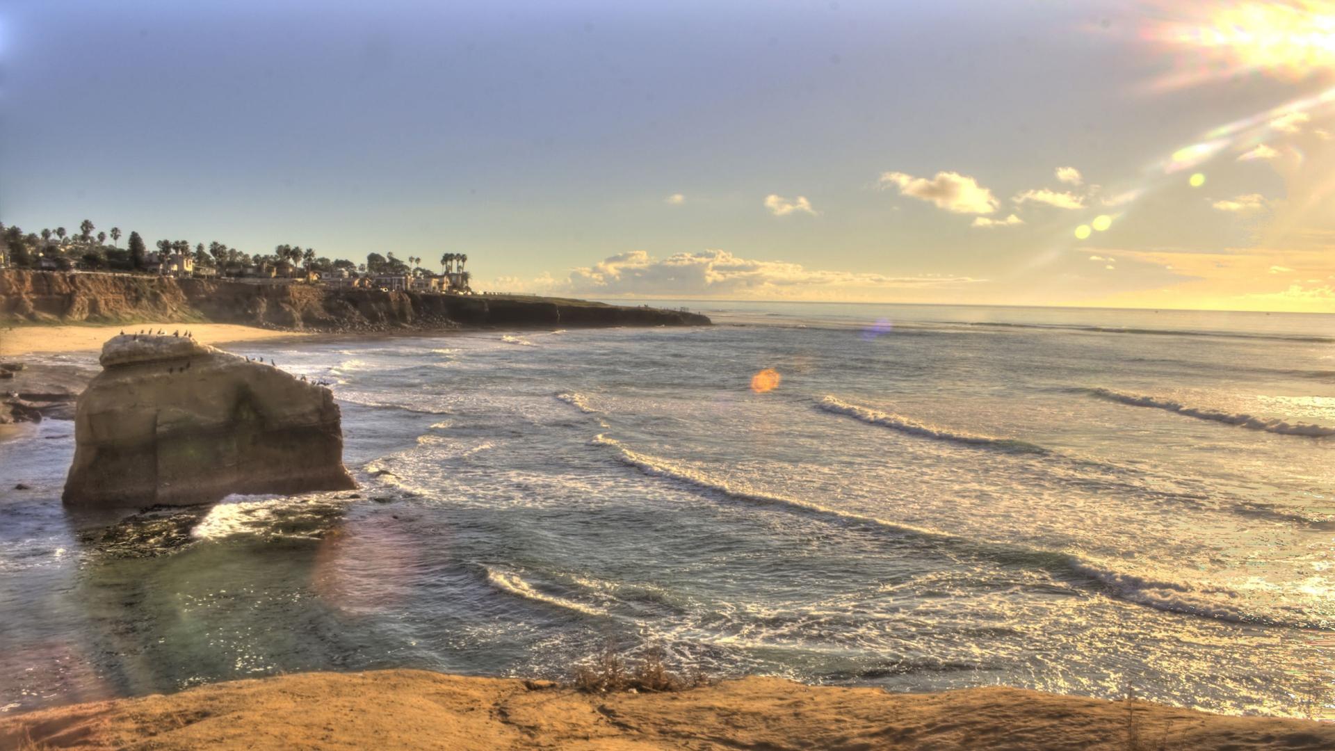 Download Wallpaper 1920x1080 Sunset Beach San Diego California Usa Full Hd 1080p Hd Background