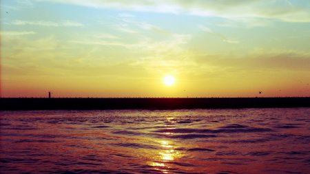 sunset, pier, sea