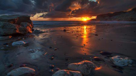 sunset, rocks, beach