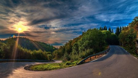 sunset, serpentine, road