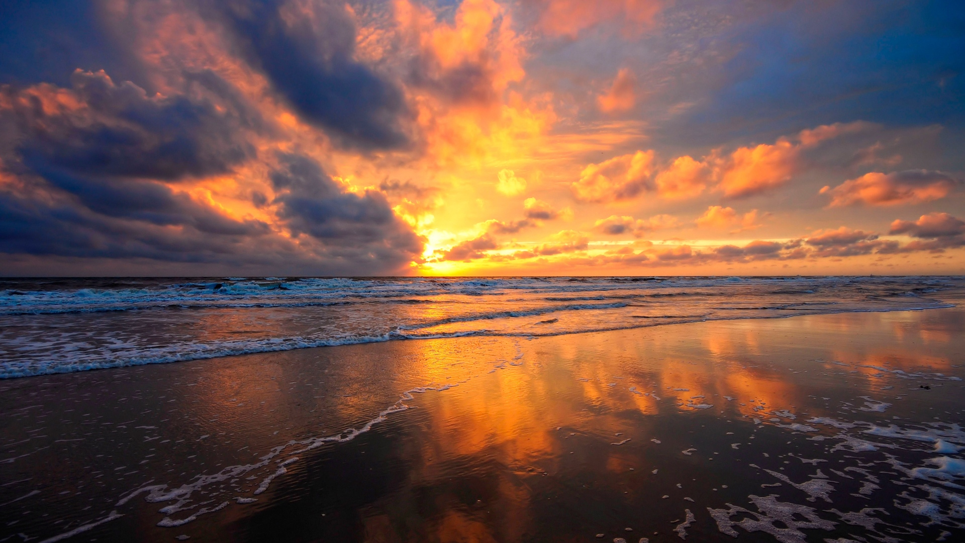 Earnings Disclaimer >> Download Wallpaper 1920x1080 sunset, sky, sea, clouds, sand, wet, mirror, reflection Full HD ...