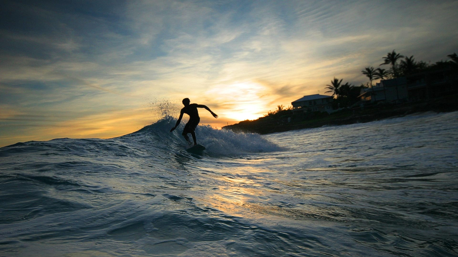 Download Wallpaper 1920x1080 Surfing Waves Evening Guy