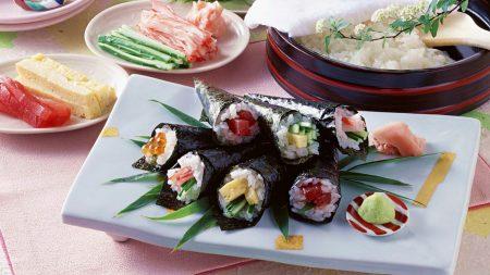 sushi, tubules, rice