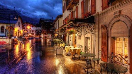 switzerland, street, cafes