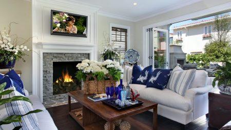 table, fireplace, sofa