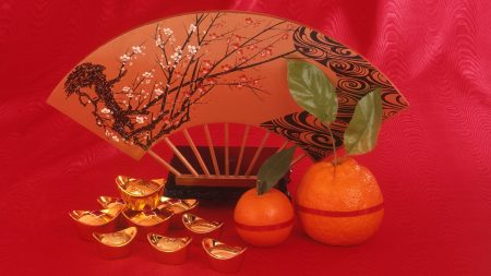tangerines, fan, jewelry