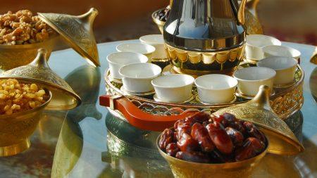 tea, dried fruit, nuts
