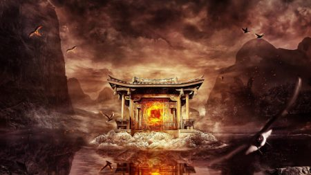 temple, fire, mountains