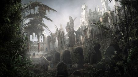 temple, graves, ruins