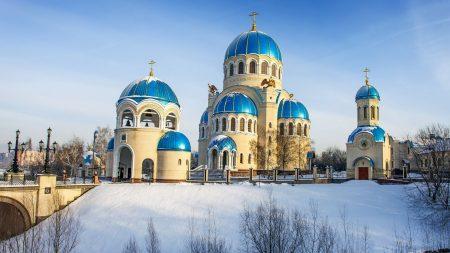 temple, snow, light