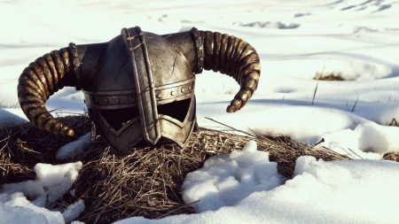 the elder scrolls, helmet, snow