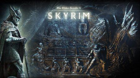 the elder scrolls skyrim, cave, statue