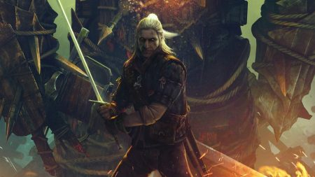 the witcher, sword, fire