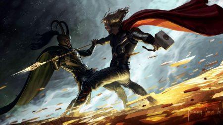 thor, fan art, battle