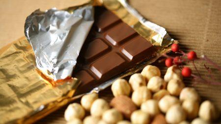 tile chocolate, nuts, foil