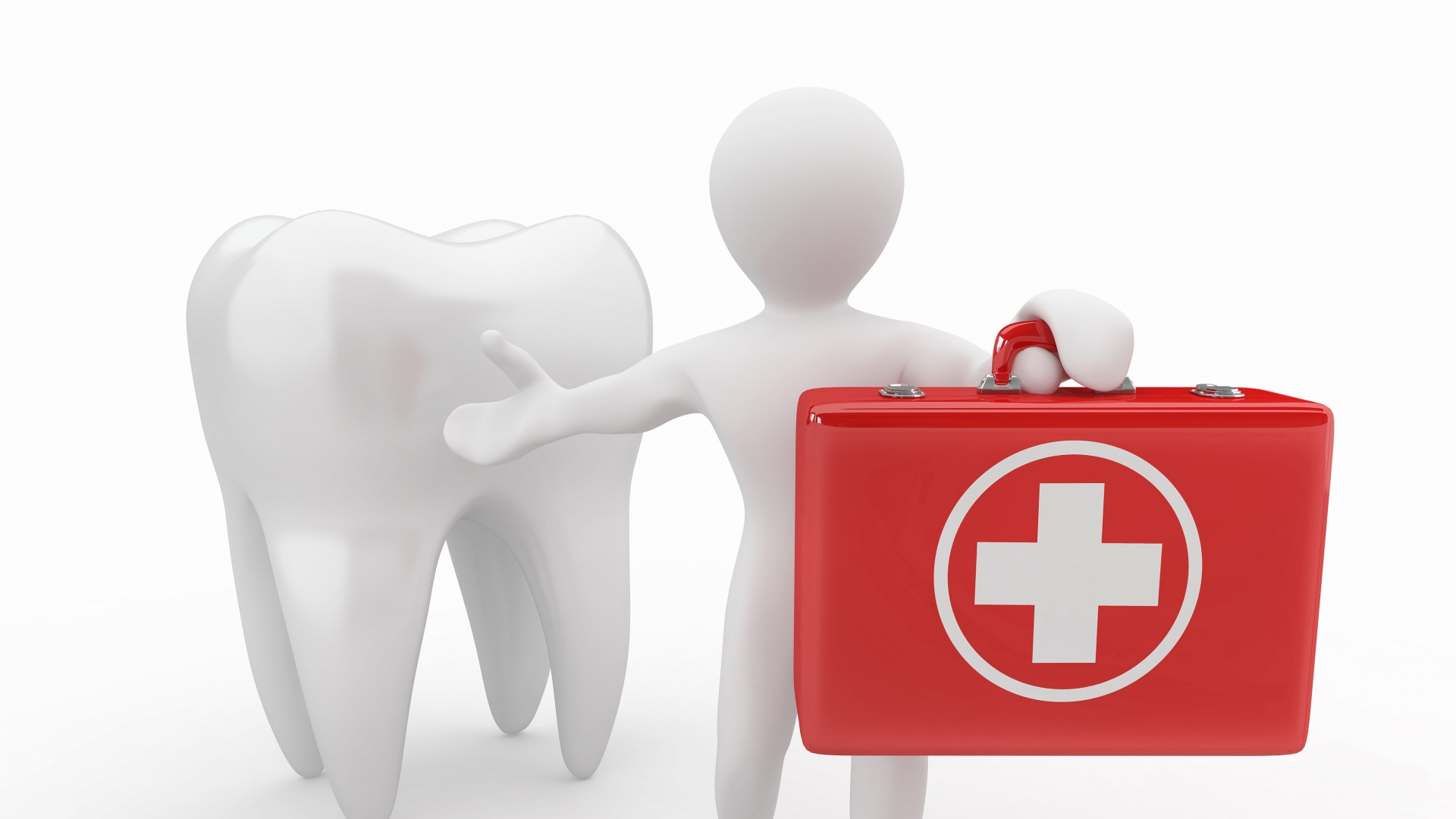 Download Wallpaper 1920x1080 Tooth Man Health Dental Suitcase White Background Full Hd 1080p Hd Background