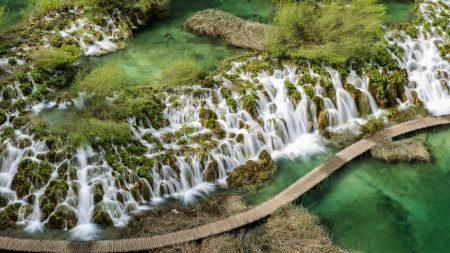 top view, waterfalls, river
