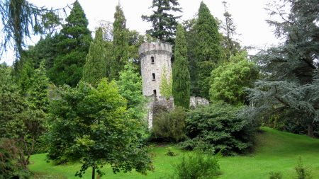tower, trees, garden