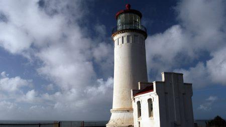 town, lighthouse, sky