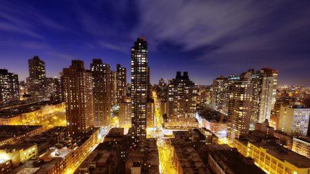 town, new york, night