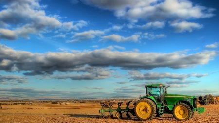 tractor, field, plowing