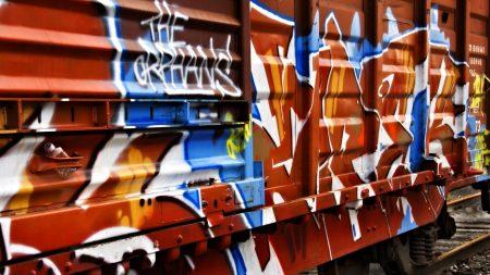 trailer, car, graffiti
