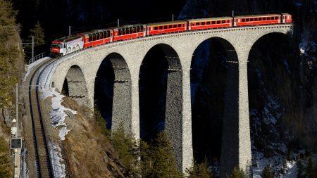 train, bridge, railway