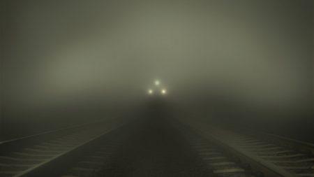 train, fog, rail