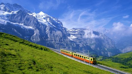 tram, railway, alps