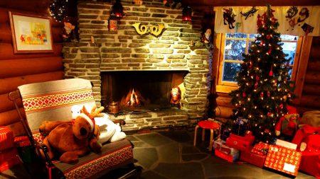 tree, christmas, fireplace