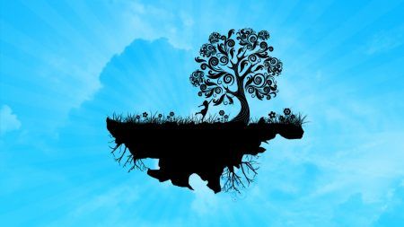 tree, island, girl
