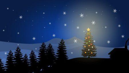 tree, new year, snowflakes