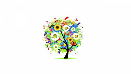 trees, flowers, colorful