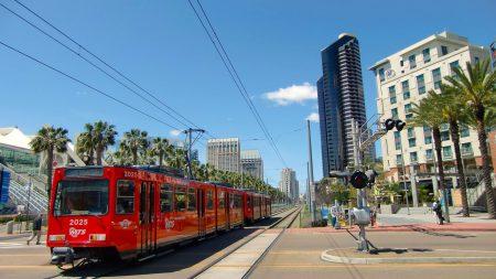 trolley, urban landscape, san diego
