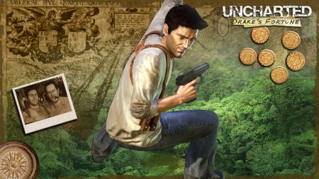 uncharted drakes fortune, pistol, photo