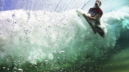 under water, surfing, board