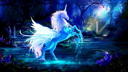 unicorn, water, forest