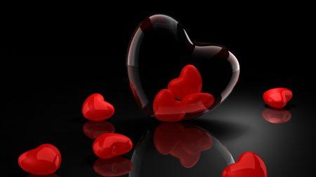 valentines day, black background, hearts