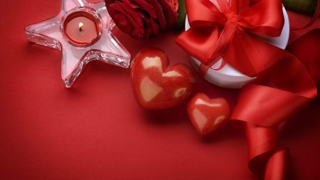 valentines day, candle, rose