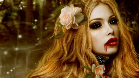 vampire, blood, flowers