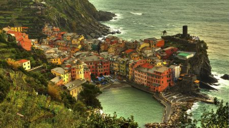 vernazza, town, sea