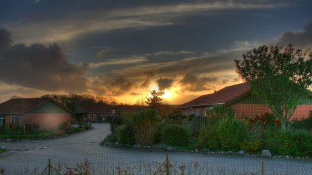 village, clouds, home