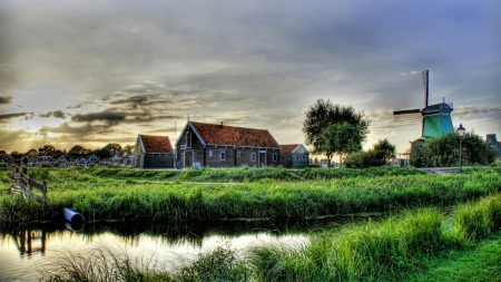 village, farm, mill