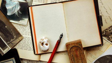 vintage, notebook, pen