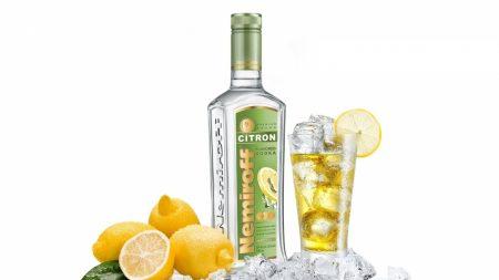 vodka, bottle, lemon