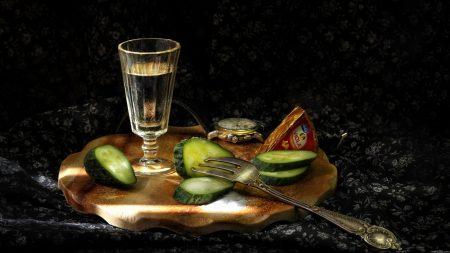 vodka, wine-glass, cucumbers