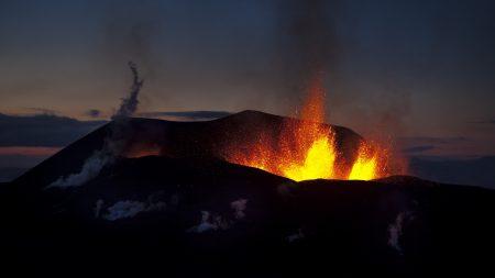 volcano, eruption, night