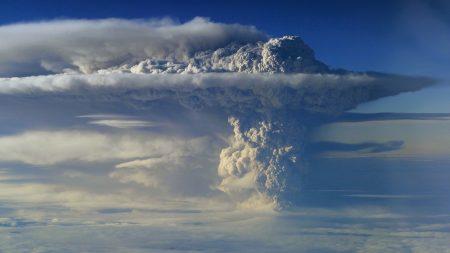 volcano, eruption, sky
